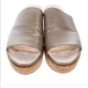 Stuart Weltzman gold sandalslides Great condition